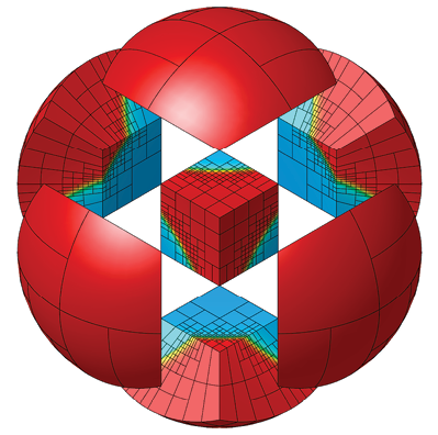 The logo for the MFEM project illustrates the high-order mesh elements and physics field representations it applies to high-performance computer simulations. This image was created with GLVis, another Livermore-developed OSS that uses MFEM to generate accurate finite-element visualizations.