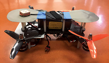 Drone prototype along with a network simulation platform.
