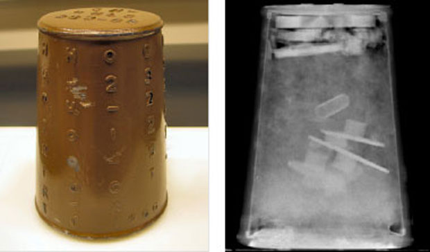 metal cylinder on the left and a radiograph of its interior on the right
