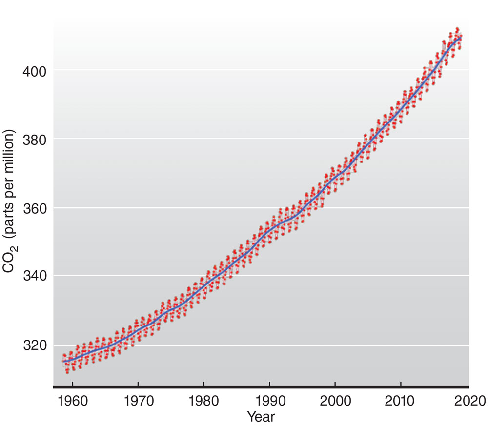 a graph shows accumulation of carbon dioxide in the Earth's atmosphere over time
