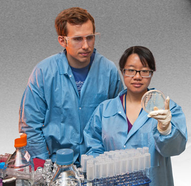 Photo of Dan Park and Mimi Yung in the laboratory with bacteria samples.