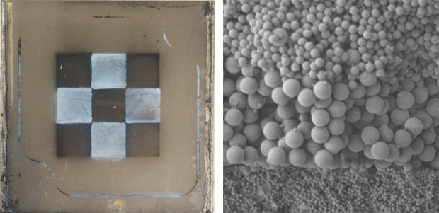 Livermore researchers use light-directed EPD to produce composite materials by precisely placing two or more materials in the plane of the electrode. (left) In this case, a metal (black) and ceramic (white) composite has been formed. (right) Layered composite materials can also be formed via traditional EPD, such as in the case of these different-sized polymer spheres. The largest spheres shown here are 1 micrometer in diameter. Arbitrary three-dimensional composites can be produced by combining these two modes.