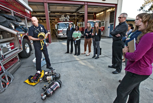 Students from Georgetown University's Emergency and Disaster Management master's program learn about special hazardous material operations during a visit to a Livermore–Alameda Country Fire Station located at Lawrence Livermore. (Photo by George A. Kitrinos.)