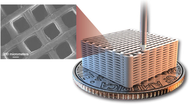Three-dimensional printing technology can be used to create graphene aerogels with a highly ordered pore structure and thus more predictable properties. An artist's rendering of a printed 3D aerogel microlattice is shown with (inset) a scanning electron micrograph of the actual structure.