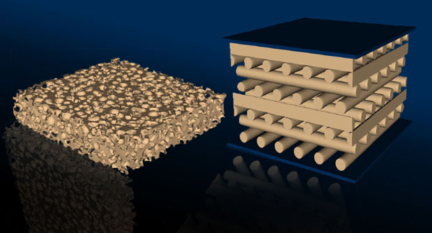 Three-dimensional (3D) printing allows researchers to create materials with custom structures, shapes, and mechanical properties while saving time and expense. The microstructures of two different foam materials show (left) a traditional open cell form and (right) a 3D-printed foam with a tetragonal lattice structure.