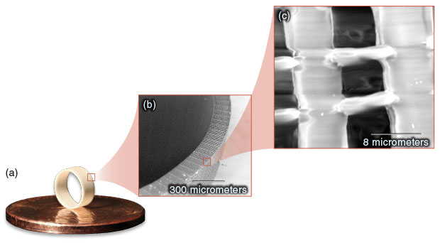 "Using the two-photon polymerization direct laser writing technique, a Livermore research team manufactured (a) a hohlraum foam liner template. Scanning electron microscopy images show the liner magnified (b) 230 and (c) 10,000 times. The liner's thickness, density, and composition were specifically ""tuned"" by the on-demand fabrication process."