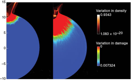 Simulations show the effect of bulk porosity on an object's response to a hypervelocity impact.