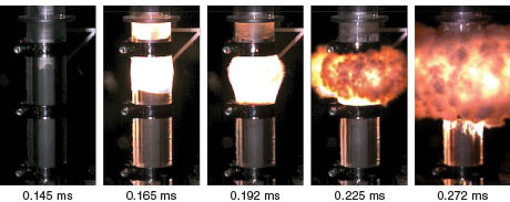 Image sequence of a detonability test of an aluminized explosive.
