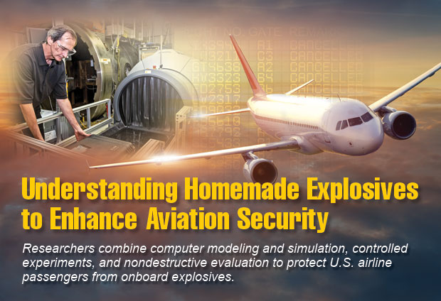 Article title: Understanding Homemade Explosives to Enhance Aviation Security; article blurb: Researchers combine computer modeling and simulation, controlled experiments, and nondestructive evaluation to protect U.S. airline passengers from onboard explosives. Photo of Harry Martz.