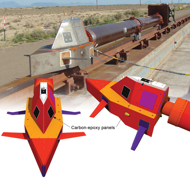 A monorail dry-run test at Holloman Air Force Base in July 2013 had no payload and used three representative carbon-epoxy panels mounted on the top and sides of the sled. (Rendering by Kwei-Yu Chu.)