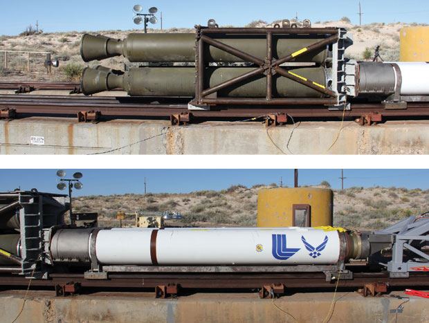 The forebody sled was propelled by two pusher stages. (top) In the first stage, four Nike rocket motors provided the initial thrust. (bottom) The second stage was loaded with two Super Terrier rocket motors.