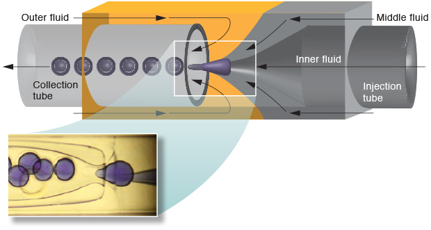 A schematic cross section indicates fluid flows and other elements in the Livermore-led team's approach to producing many capsules in a single production run. (inset) An actual microfluidics device is shown in operation, injecting a drop of carbon-capturing mixture into individual capsules in rapid fashion.