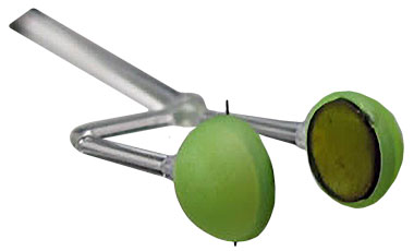 (left) This target used in collisionless shock experiments conducted at NIF under the Discovery Science Program consists of two nickel- and iron-doped plastic foil discs 10 millimeters apart. The green plastic caps are light shields. Laser beams striking the discs create plasmas that interpenetrate at high velocity, thereby generating on a small scale the collisionless shocks that are believed to govern many large-scale astrophysical phenomena.