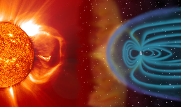 Earth is surrounded by a magnetosphere (blue), which is generated by the planet's molten outer core acting as a dynamo. The magnetosphere protects the planet from the Sun's solar wind (white to light yellow lines) and magnetic storms (yellow cloud). When the solar wind collides with the magnetosphere, a bow shock (purple) forms. The shock is collisionless, forming not from the collision of particles but from collective instabilities of the interpenetrating plasmas. (Image courtesy of NASA.)