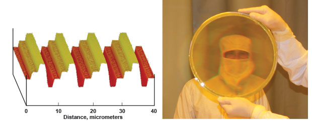 Atomic force microscopy image of the surface of a four-level glass master optic; photograph of Jerry Britten behind an optic with a four-level etched membrane pattern.