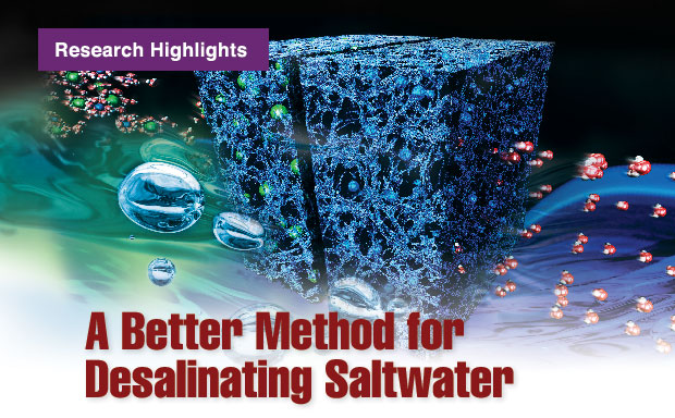 Article title: A Better Method for Desalinating Saltwater; image is a rendering of flow-through electrode capacitive desalination.