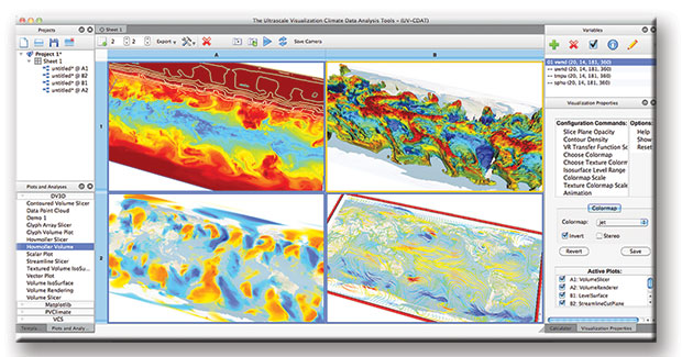Screen shot of the Ultrascale Visualization Climate Data Analysis Tools.