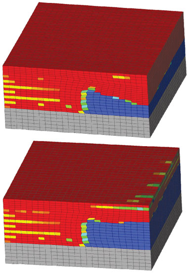 Livermore researchers have used Diablo part-scale modeling to understand and correct the formation of uneven surfaces in overhang regions. (top) When the laser sweep proceeds at a uniform speed and power, it tends to produce excessive melting and consolidation (red) beneath the intended overhang, causing previously unprocessed powder (blue) to fuse and form a rough downward-facing surface. (bottom) By modulating the power, the simulations suggest this problem can be mitigated and a more even surface produced.