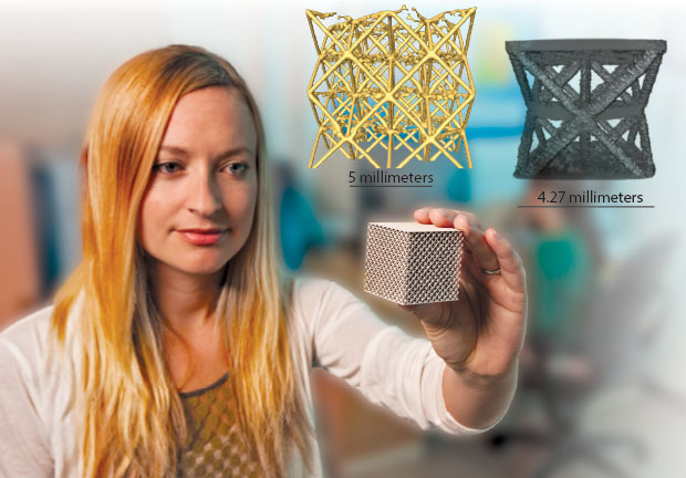 (below left) Materials scientist Holly Barth holds an additively manufactured metal lattice structure. A combination of modeling and synchrotron radiation microtomography experiments helped identify and correct some initial printing problems compromising structural integrity. (below center) This tomographic three-dimensional (3D) rendering of a stainless-steel lattice structure shows higher-than-desired porosity and disconnected struts, while (below right) the other tomographic 3D rendering shows a titanium alloy lattice structure with acceptable density and strut connectivity. (Photo by George Kitrinos.)