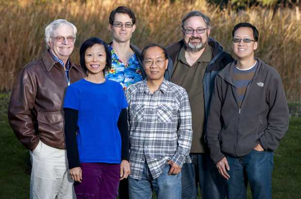 Development team for the CCSI toolset: (from left) Greg Pope, Brenda Ng, Jim Leek, Charles Tong, Tom Epperly, and Jeremy Ou. (Not shown: Natalia Kitch). (Photo by Randy Wong.)