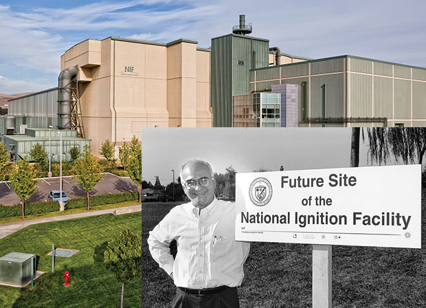 top) The completed facility is a cornerstone of the Stockpile Stewardship Program. (bottom) Vic Reis, then Department of Energy Assistant Secretary for Defense Programs, visits the proposed construction site in 1996 for the National Ignition Facility.