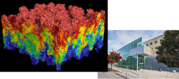Researchers used the Laboratory's BlueGene/L supercomputer to create (left) a high-resolution simulation of turbulent thermonuclear burning in a Type 1a supernova. (right) The Livermore Computing Complex houses most of the Laboratory's supercomputers.