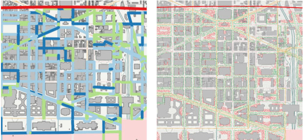 The Optimization Planning Tool for Urban Search (OPTUS) helps search teams sweep a selected urban area more efficiently in a limited amount of time. (left) OPTUS-optimized driving routes indicate the areas that will be passed one (green), two (light blue), or three (dark blue) times. (right) When a search is complete, OPTUS provides an estimate of the search effectiveness. In this hypothetical example, green areas are considered cleared while red areas are not.