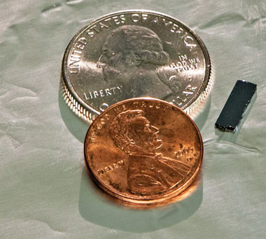 The tiny SERS sensor has many potential uses, including portable detectors for military and law-enforcement applications. (Photograph by George A. Kitrinos)