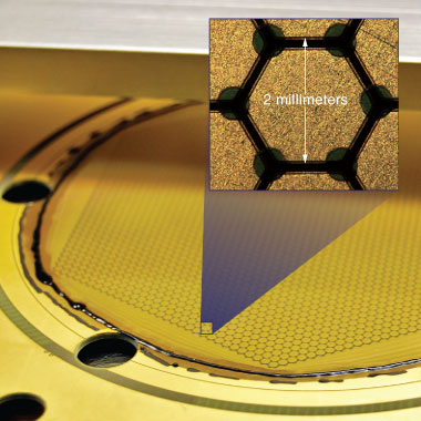 Each of the two amplification structures contains about 3,000 millimeter-sized hexagonal pads (inset) that collect electrons and record their charge.