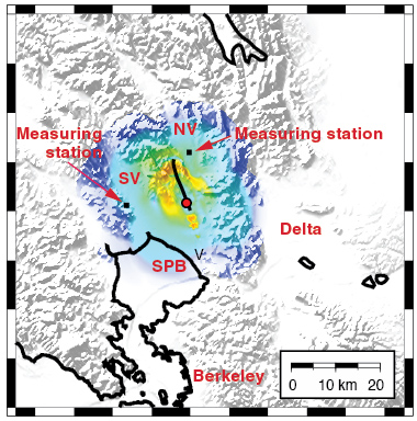 This snapshot of the ground motion from the south Napa earthquake shows the magnitude of ground velocity (centimeters per second) scaled according to color. The event started at the epicenter (red circle) and ruptured along the fault (thick black line). Squares mark the locations of seismogram measurements. Place names are Napa Valley (NV), Sonoma Valley (SV), Vallejo (V), and San Pablo Bay (SPB).