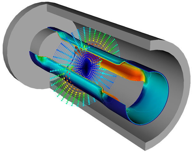 The ALE3D simulation shown depicts powerful magnetic fields generated by a large pulse of electrical current running through an outer conductor. The magnetic fields crush a thin-walled metal cylinder located inside the larger conductor. The inner cylinder is slotted to break the axial symmetry, making this a fully 3D problem.