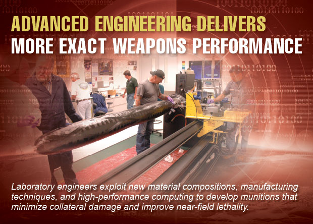 Article title: Advanced Engineering Delivers More Exact Weapons; article blurb: Laboratory engineers exploit new material compositions, manufacturing techniques, and high-performance computing to develop munitions that minimize collateral damage and improve near-field lethality. Photograph of researchers working on a munition.