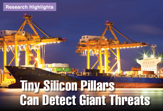 Article title: Tiny Silicon Pillars Can Detect Giant Threats.