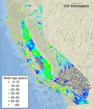 The GAMA program has so far determined the age of over 4,000 California groundwater samples using tritium as a tracer. A map graphically represents the results of 2,589 samples. Of these, 1,630 samples—or 63 percent of the total—had a mean groundwater age of approximately 60 years, indicating California's reliance on relatively old water that is replenished slowly.