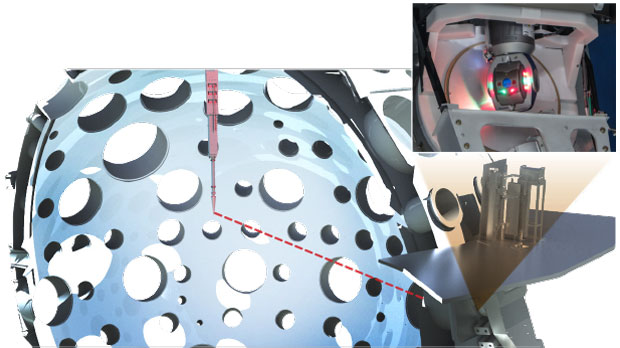ATLAS has significantly improved alignment of the polar DIM (red) descending vertically from the top of the target chamber, as seen in this artist's depiction. (inset) ATLAS, mounted on one of the target chamber's glass ports, looks into the target chamber. (Illustration by Max Rodriguez.)
