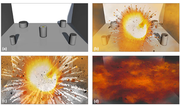 Livermore researchers are helping develop a weapon that can penetrate a storage facility and destroy chemical or biological agents inside before they can be deployed. Illustrations depict (a) a thermite-based payload (in the center of the space shown) delivered to a storage facility containing canisters of agents; (b) initiation of the weapon by high explosives; (c) creation of a thermitic fireball; and (d) establishment of a persistent thermitic cloud, which rapidly and efficiently destroys the agents. (Renderings by Sabrina Fletcher.)