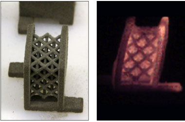 Livermore researchers are designing, building, and testing 3D reactive structures, including both thermite and intermetallic formulations. An example skin-lattice design, produced by engineer Robert Reeves, is shown (left) before and (right) during a reaction. Ongoing work is examining the trade-off between material reactivity and strength and investigating how materials such as this can be used as structural components in energetic systems.