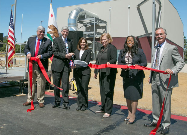 Officials from DOE's National Nuclear Security Administration (NNSA) and government representatives dedicate a new supercomputing facility at Lawrence Livermore. (from left) Michael Macial, mayor of Tracy, California; Charles Verdon, Lawrence Livermore's principal associate director for Weapons and Complex Integration; Kathleen Alexander, NNSA administrator; Pat Falcone, Lawrence Livermore's deputy director for Science and Technology; Nicole Nelson-Jean, NNSA Livermore Field Office manager; and John Marchand, mayor of Livermore, California. (Photo by Julie Russell.)