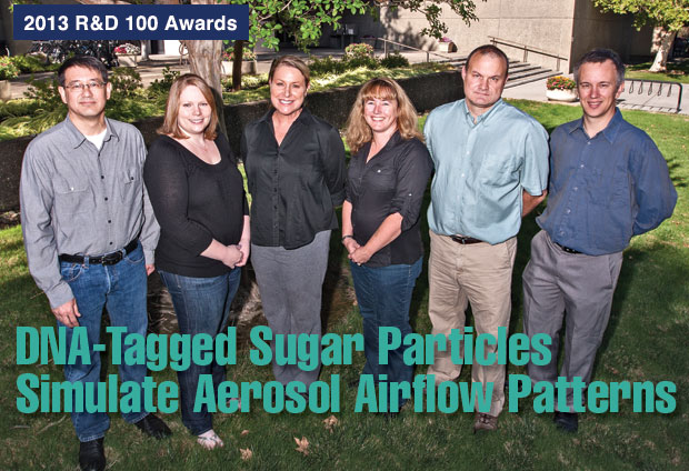 Article title: DNA-Tagged Sugar Particles Simulate Aerosol Airflow Patterns; photo of the DNATrax development team.