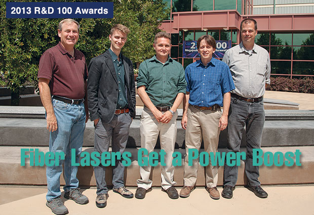 Article title: Fiber Lasers Get a Power Boost; photo of the mode converter development team.