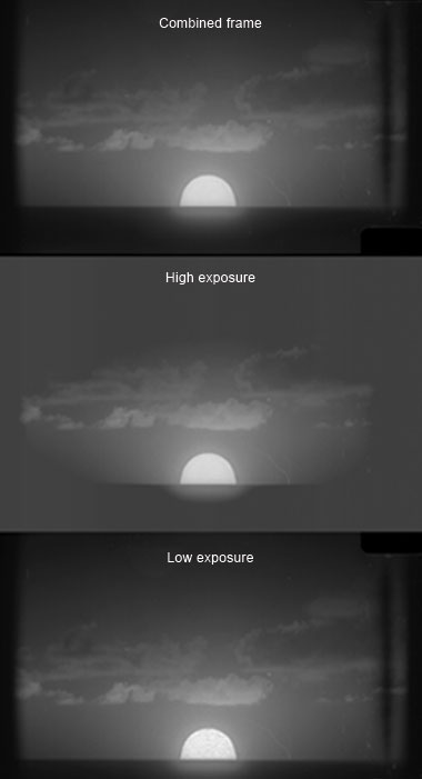 Each reel passes through the scanner twice to improve image fidelity. (bottom) The low-exposure range provides higher fidelity shadows outside the fireball, but the fireball itself appears grainy. (middle) The high-exposure range provides more nuanced highlights yet lacks depth in darker tones. (top) The combined frame contains this 1956 test's full optical range.