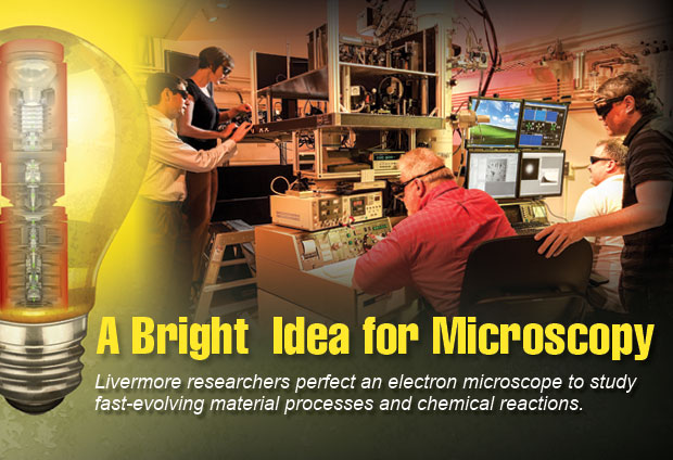 Article title: A Bright Idea for Microscopy; article blurb: Livermore researchers perfect an electron microscope to study fast-evolving material processes and chemical reactions.