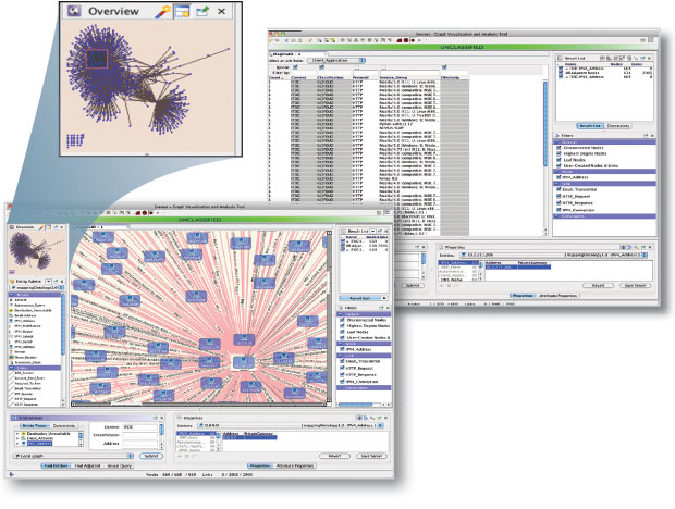 NeMS software scans a computer network to characterize its operating environment in detail, building a visual representation of the network's current structure and activity profile. Such snapshots of a network environment reveal open ports, available services, operating systems, topology, and transactions between nodes. Systems analysts can expand those results to explore specific features in closer detail and locate misconfigurations or other errors that make the network vulnerable to a cyberattack.