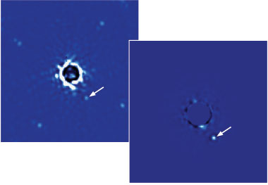 (left) During its first observations, GPI captured this image within 60 seconds. It shows a planet orbiting the star Beta Pictoris, which is 63 light-years from Earth. (right) A series of 30 images was later combined to enhance the signal-to-noise ratio and remove spectral artifacts. The four spots equidistant from the star are fiducials, or reference points. (Image processing by Christian Marois, NRC Canada.)