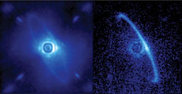 GPI also records data using polarization differential imaging to more clearly capture scattered light. Images of the young star HR4796A revealed a narrow ring around the star, which could be dust from asteroids or comets left behind by planet formation. The left image shows normal light scattered by Earth's turbulent atmosphere, including both the dust ring and the residual light from the central star. The right image shows only polarized light taken with GPI. (Image processing by Marshall Perrin, Space Telescope Science Institute.)