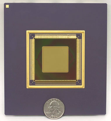 A 2.56-centimeter-square deformable mirror called a tweeter is used for fine-scale correction of the atmosphere. This microelectromechanical systems– (MEMS-) based device has 4,096 actuators and is made of etched silicon, similar to the material used for microchips. (Courtesy of Boston Micromachines.)