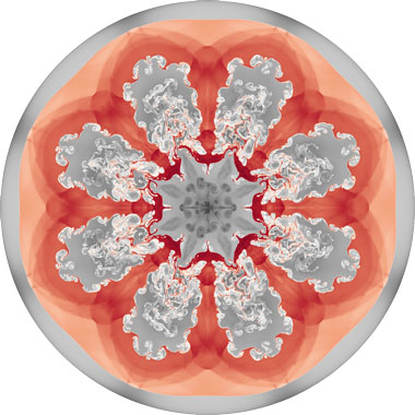 "The BLAST code accurately simulates the interactions between multiple materials in a high-order Arbitrary Lagrangian–Eulerian (ALE) hydrodynamics calculation. Shown here is the image of this simulation, which was recently featured as part of an ""Art of Science"" exhibit at the City of Livermore's public library."