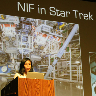 During a Science on Saturday lecture, Livermore scientist Tammy Ma describes the concept of fusion and the National Ignition Facility's role in national energy security. (Photograph by Joanna Albala.)