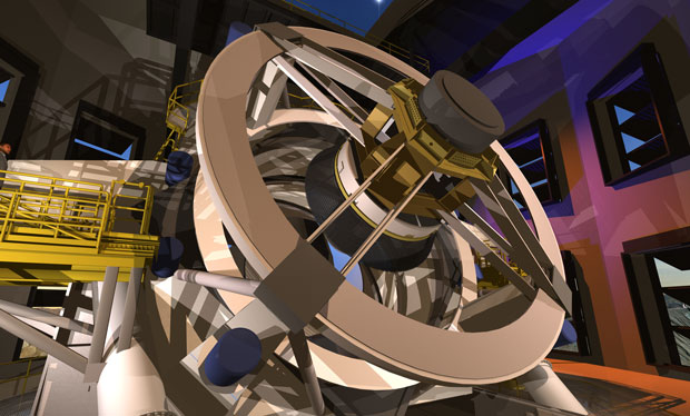 Despite its compact design, LSST weighs a massive 350 tons. Of this total, 300 tons comprise moveable parts. (Image courtesy of LSST Corporation.)