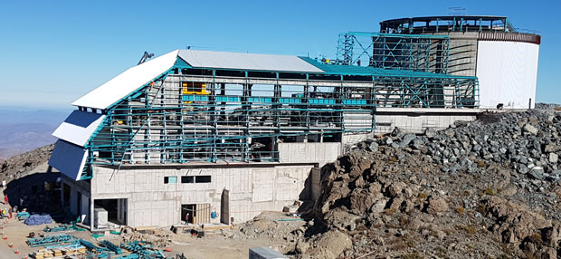 Construction of LSST is well under way on the 2,682-meter El Peñón peak in the Andes Mountains of Chile, as shown in this photograph taken in May 2017. (Photograph courtesy of LSST Corporation.)